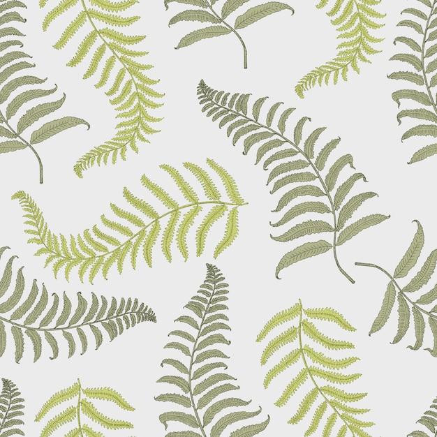 Tropisches muster der nähte vintage mit blättern, handgezeichnet oder enrgaved. vintage aussehende blätter und pflanzen Premium Vektoren