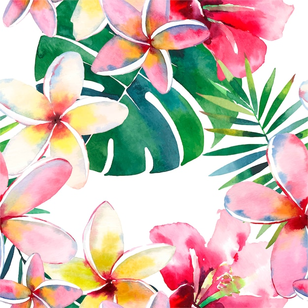 Tropisches muster eines aquarellhandpalmblätter- und -blumenhibiscus Premium Vektoren