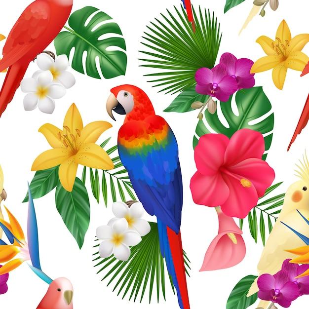 Tropisches muster. exotische blumen und vögel färbten schöne amazonische papageien blumig nahtlos, dschungel exotische palme und vogel, sommer tropisch Premium Vektoren