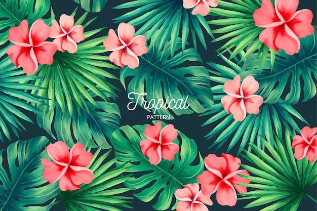 Tropisches muster mit exotischer natur Kostenlosen Vektoren