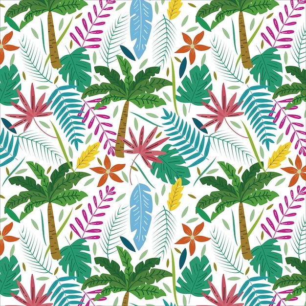 Tropisches muster mit palmen und exotischen blättern des sommers Premium Vektoren