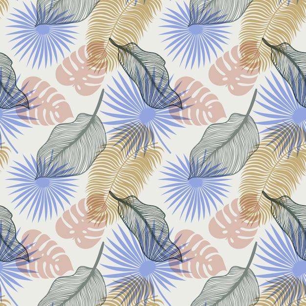 Tropisches nahtloses muster mit exotischen palmblättern Premium Vektoren