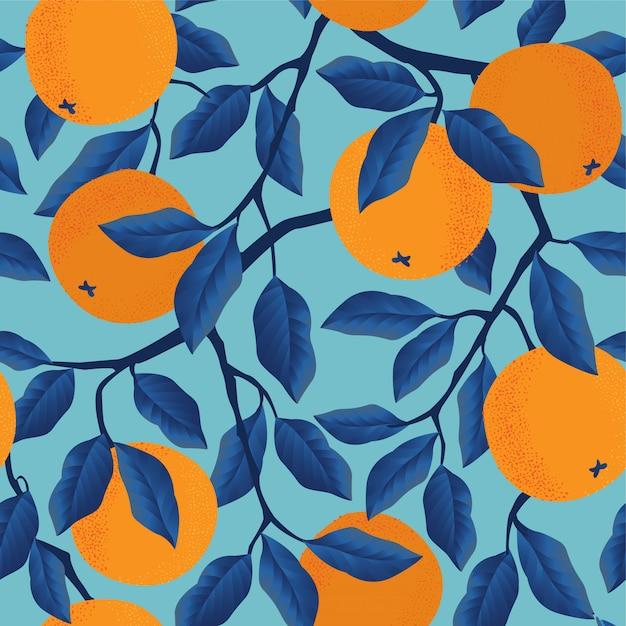 Tropisches nahtloses muster mit orangen. obst wiederholt. Premium Vektoren