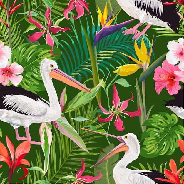Tropisches nahtloses muster mit pelikanen und blumen Premium Vektoren