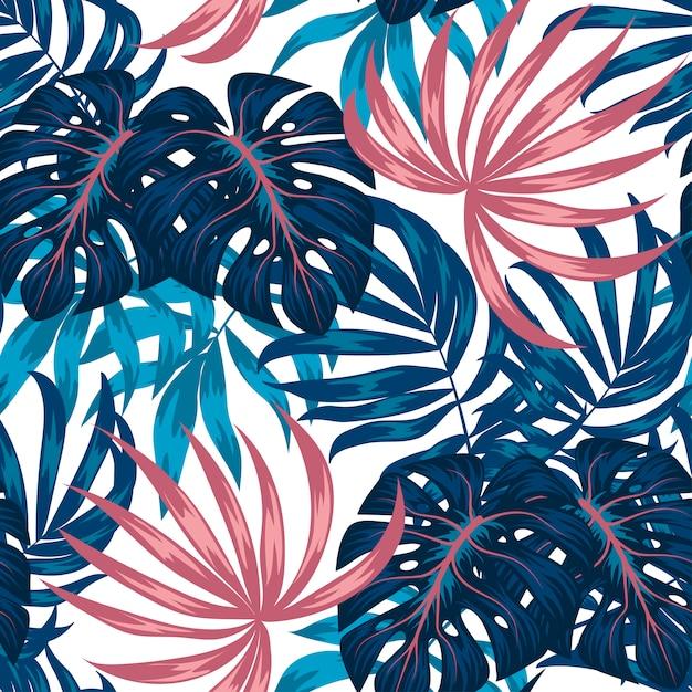 Tropisches nahtloses muster mit pflanzen und blättern Premium Vektoren