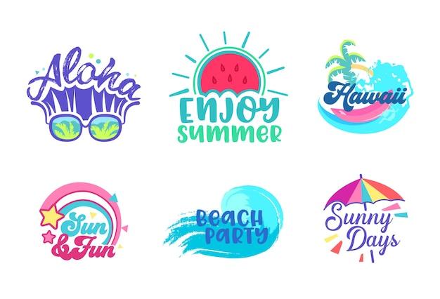 Tropisches plakat-design-set des sommerstrandurlaubs. paradies hawaii urlaubsparty typografie banner vorlage. marketing-werbe-abzeichen für flache karikatur-vektor-illustration des cocktail-meeres-konzepts Premium Vektoren