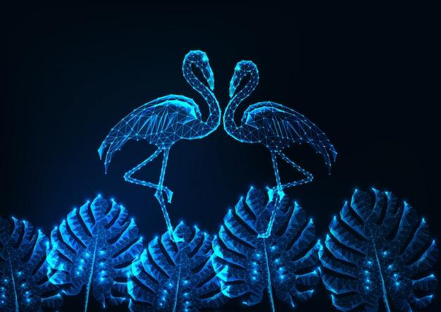 Tropisches sommerkonzept mit glühenden niedrigen polypaaren von flamingos und von monstera verlässt auf dunkelblauem. Premium Vektoren