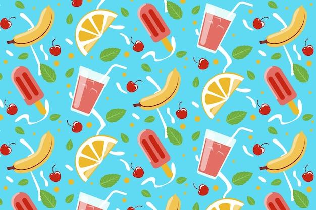 Tropisches sommermuster mit früchten und süßen leckereien Kostenlosen Vektoren