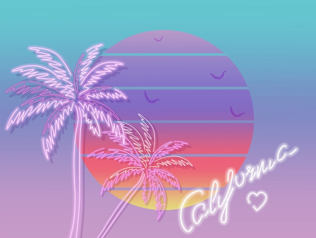 Tropisches sonnenuntergangkalifornien-plakat Premium Vektoren