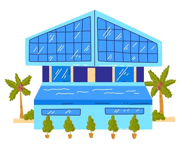 Tropisches strandhaus, aktive, heiße sommerferien, küstenhütte, entwurfskarikaturartillustration, lokalisiert auf weiß. grüne palme in der nähe der hütte, ruhe auf der insel, gemütliches holzbungalowgebäude Premium Vektoren