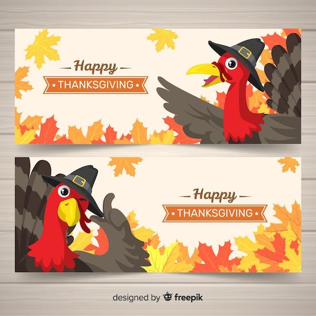 Truthahn thanksgiving tag banner-set Kostenlosen Vektoren