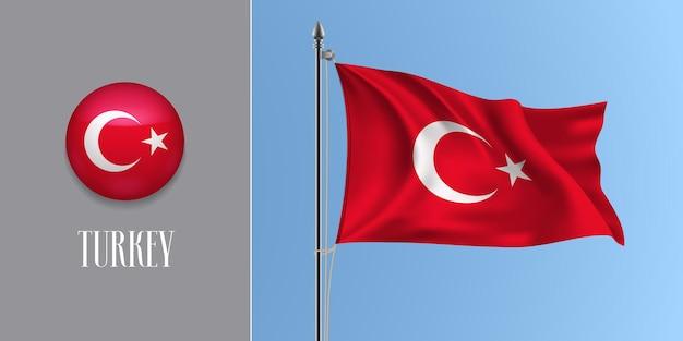 Truthahn winkende flagge auf fahnenmast und runder ikone. realistische 3d der roten türkischen flagge und des kreisknopfes Premium Vektoren