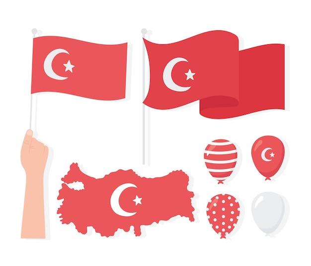 Truthahnrepublik tag, karte flaggen ballons ikonen set illustration Premium Vektoren
