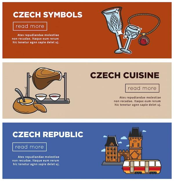 Tschechische republik banner von sehenswürdigkeiten symbole und prag reisen anziehungskraft symbole Premium Vektoren