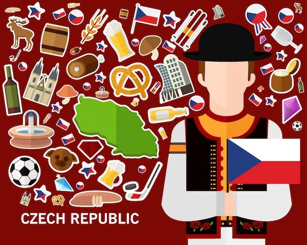 Tschechische republik konzept hintergrund Premium Vektoren