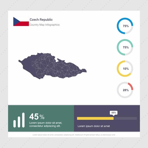 Tschechische republik map & flag infografik vorlage Kostenlosen Vektoren