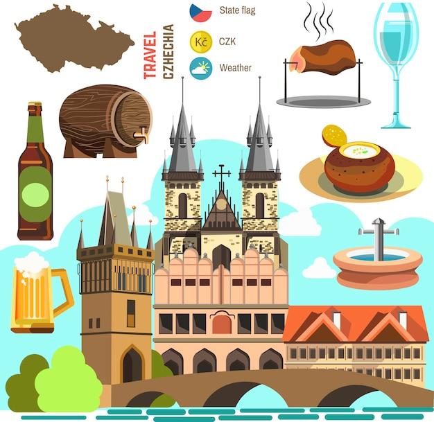 Tschechische republik prag symbolsatz. Premium Vektoren