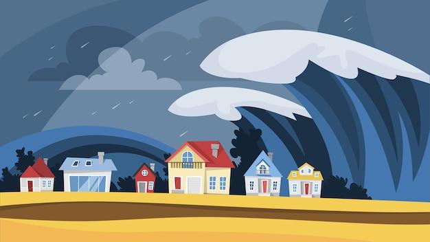 Tsunami-katastrophe. große wellen bedecken das dorf Premium Vektoren
