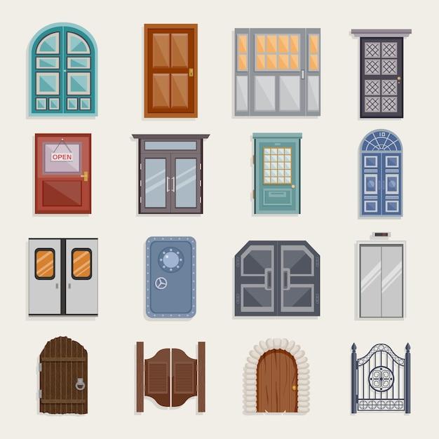 Tür-ikonen flach Kostenlosen Vektoren