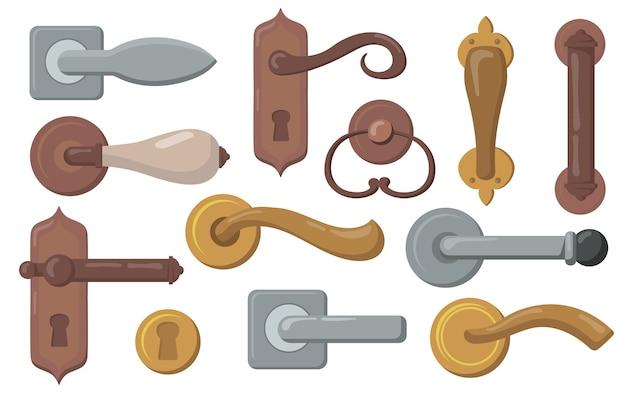 Türgriffe gesetzt. traditionelle knöpfe mit schlüssellöchern, moderne metalltürknöpfe. vektorillustration für innenraum, möbel, zubehör, eintrittskonzept Kostenlosen Vektoren