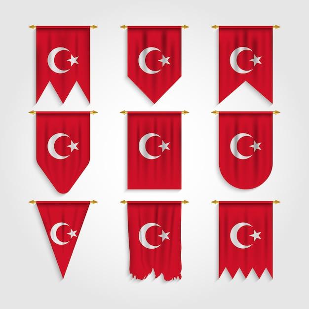 Türkei flagge in verschiedenen formen Premium Vektoren
