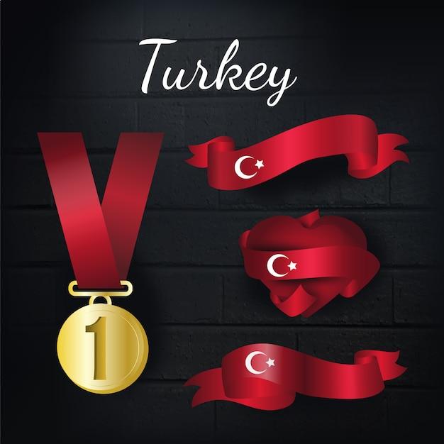 Türkei goldmedaille und bänder sammlung Kostenlosen Vektoren