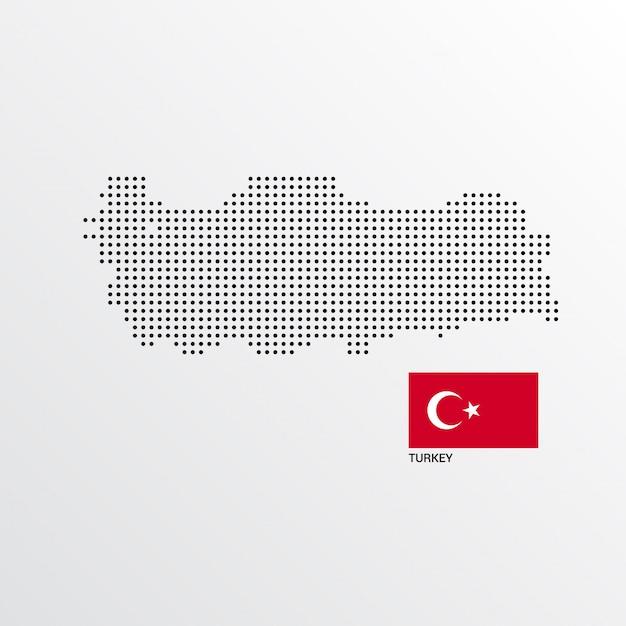 Türkei-kartenentwurf mit flaggen- und hellem hintergrundvektor Kostenlosen Vektoren