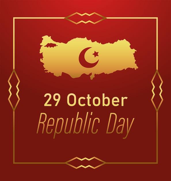 Türkei republik tag, goldene karte mondstern emblem rahmen dekoration karte illustration Premium Vektoren