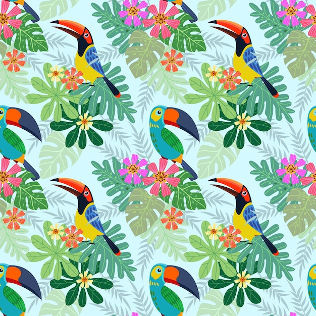 Tukanvogel mit nahtlosem muster der tropischen blumen. Premium Vektoren