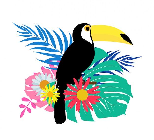 Tukanvogel mit palmblättern Premium Vektoren