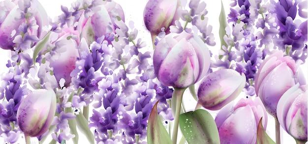 Tulpen und lavendel aquarell. frühlingssommerblumenstrauß Premium Vektoren