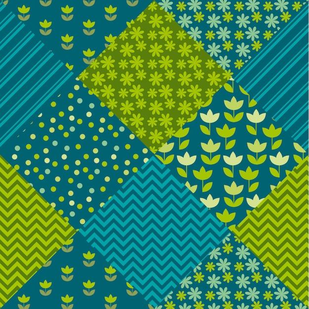 Tulpenblumen- und geometriemotivpatchwork der blauen und grünen farbe. einfaches sortiertes fleckenillustrationsdesign. Premium Vektoren