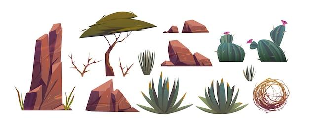 Tumbleweed, kakteen und felsen der sandwüste in afrika Kostenlosen Vektoren