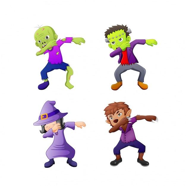 Tupfende cartoon-halloween-kostüme Premium Vektoren