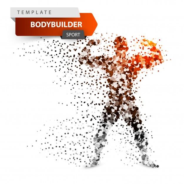 Turnhalle, bodybuilder - karikaturpunktillustration. Premium Vektoren