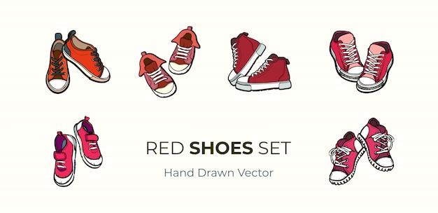 Turnschuhschuhe paare lokalisiert. hand gezeichneter vektorillustrationssatz rote schuhe. Premium Vektoren