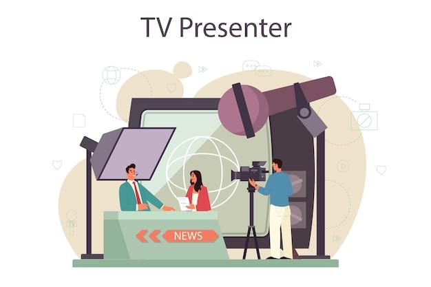 Tv-moderator-konzept. fernsehmoderator im studio. der sender spricht vor der kamera und berichtet über neuigkeiten. Premium Vektoren