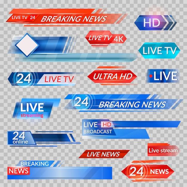 Tv-nachrichten und streaming-video-set Premium Vektoren