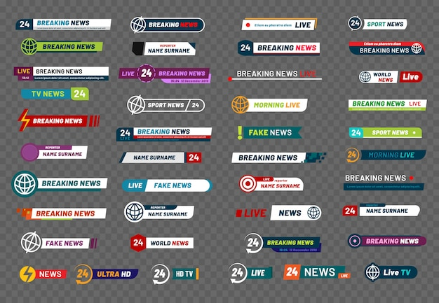 Tv-nachrichtenleiste. fernsehsendungsmedientitelfahne, fußballspielertitel oder fußballsportshowschnittstelle lokalisierten satz Premium Vektoren
