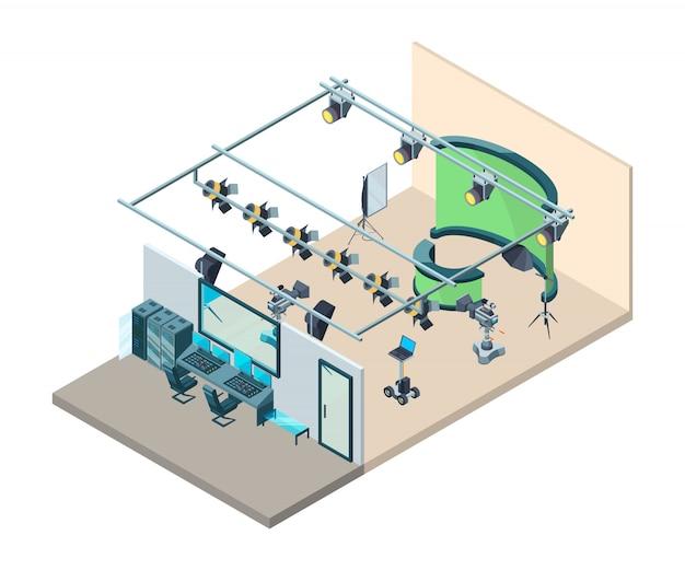 Tv studio interieur. fernsehproduktionsraum mit professioneller ausrüstung videokameras blinkt softboxes stativ isometrisch Premium Vektoren