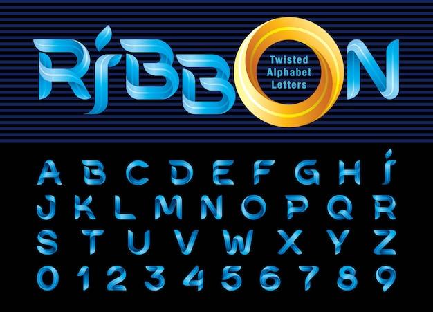 Twist ribbons alphabet buchstaben und zahlen, modern origami stilisiert gerundet Premium Vektoren