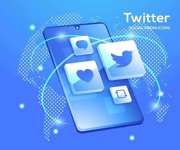 Twitter 3d social media icons mit smartphone-symbol Premium Vektoren
