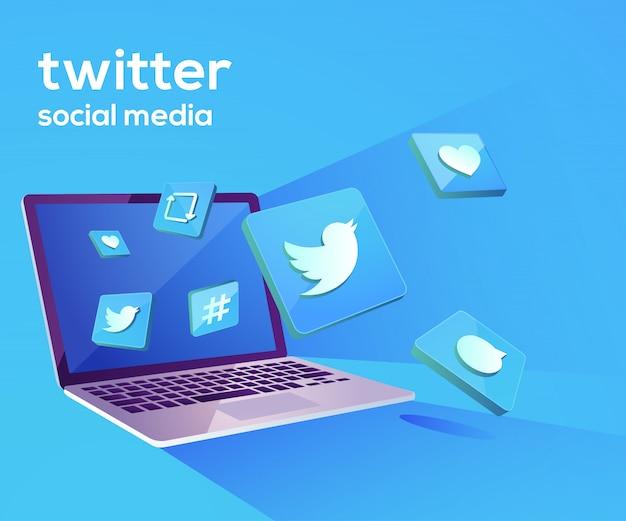 Twitter 3d social media iicon mit laptop dekstop Premium Vektoren