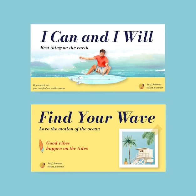 Twitter-vorlage mit surfbrettern am strand Kostenlosen Vektoren