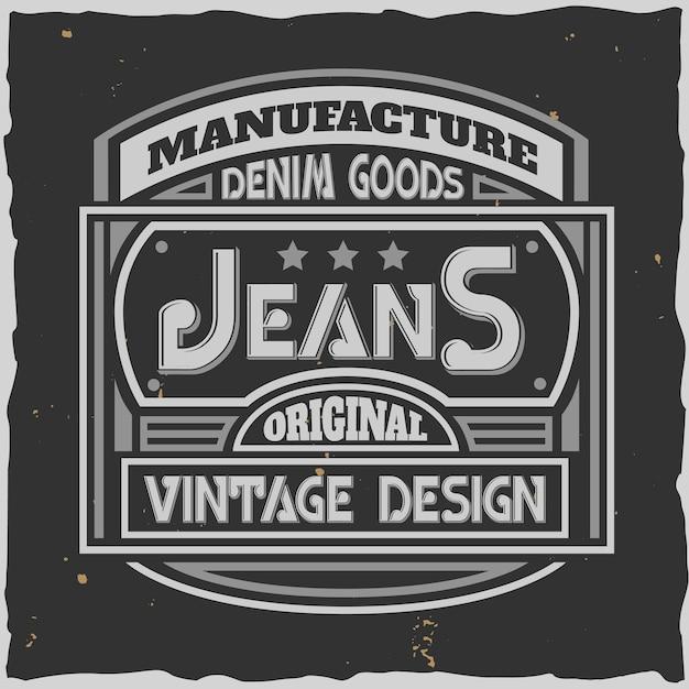 Typ denim jeans label mit retro-formen und bearbeitbarem verziertem text mit sternen Kostenlosen Vektoren