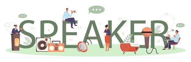 Typisches header-konzept für professionelle sprecher oder kommentatoren. peson spricht mit einem mikrofon. rundfunk oder öffentliche ansprache. sprecher des geschäftsseminars. isolierte vektorillustration Premium Vektoren