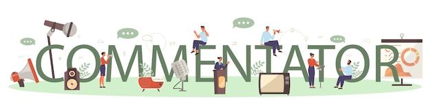 Typisches header-konzept für professionelle sprecher oder kommentatoren Premium Vektoren