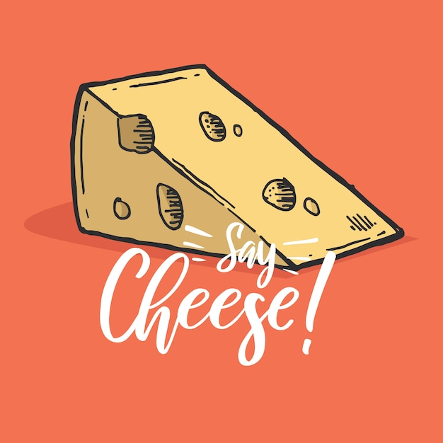 Typografie hand schriftzug käse zitat Premium Vektoren