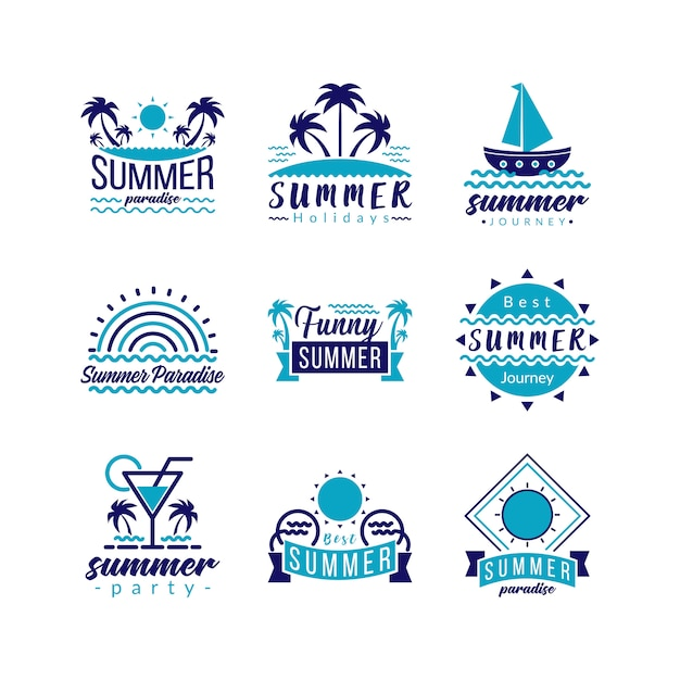 Typografie-logo-symbol set retro travel und tropical paradise adventure. Premium Vektoren