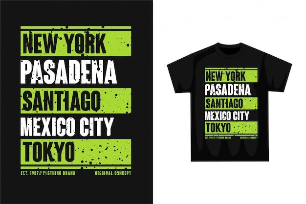 Typografie stadtname - grafisches t-shirt Premium Vektoren